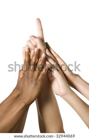 hands come together for number one sign - stock photo