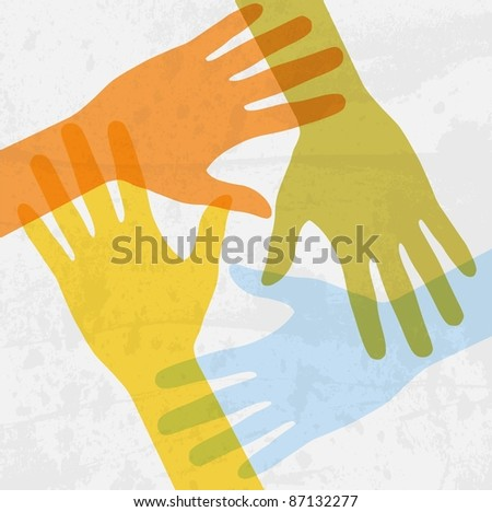 hands connecting - stock photo