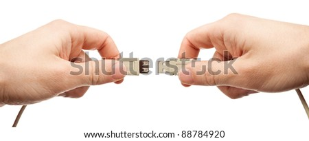 Hands connecting usb cable, isolated. - stock photo