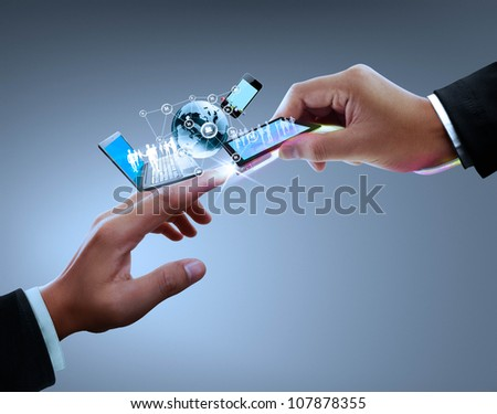 Hands, connectors with the technology - stock photo