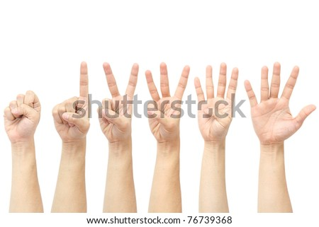 hands counting from 0 to 5 - stock photo