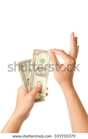 hands counting money, isolated on white background - stock photo