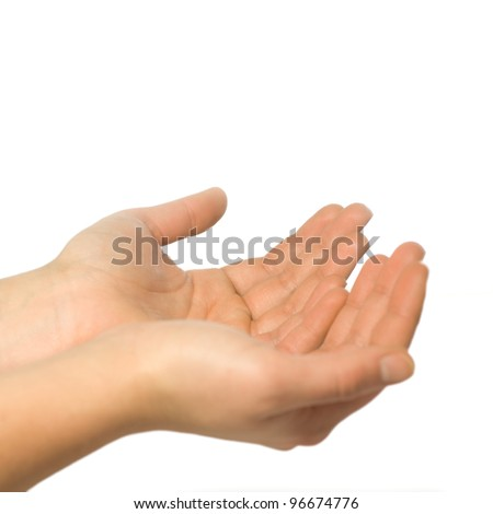 Hands cupped together, isolated on white background - stock photo