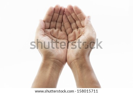 Hands cupped together on white background - stock photo