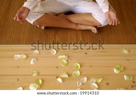 Hands detail in yoga position - stock photo