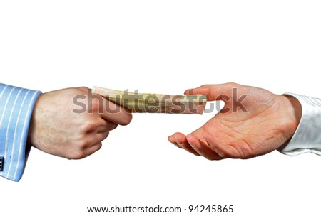 Hands exchanging 50 euro bills, isolated on white - stock photo
