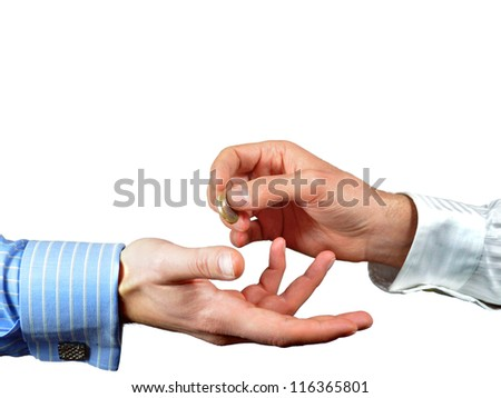 Hands exchanging one euro coin for payment or donation - stock photo