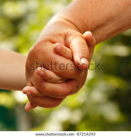 hands family grandson and old grandmother nature - stock photo