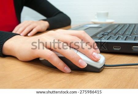 hands fast typing on laptop - stock photo