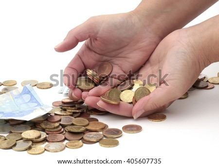 Hands filled with coins