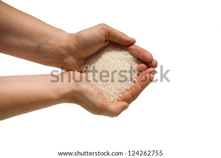 hands filled with rice