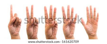 Hands, fingers and numbers. On a white background