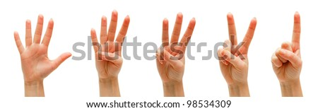 Hands, fingers and numbers. On a white background. Isolated. - stock photo