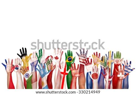 Hands Flag Symbol Diverse Diversity Ethnic Ethnicity Unity Concept - stock photo