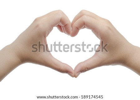 Hands formed of heart shape isolated on white background