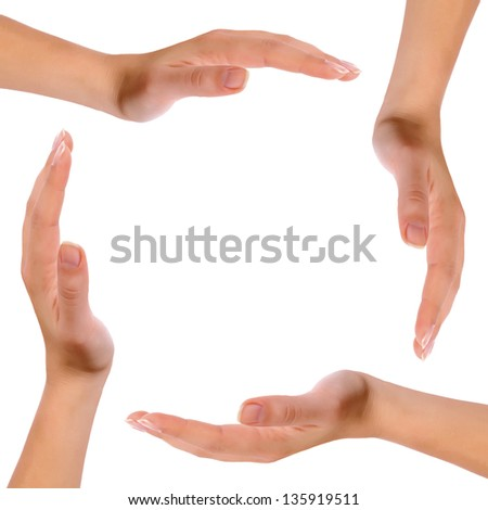 Hands forming a circle isolated on white background.