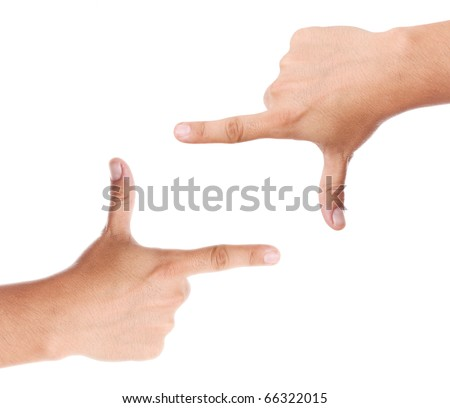Hands forming a space in blank for insert text or design - stock photo