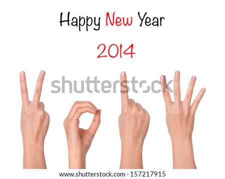 hands forming number 2014 - stock photo