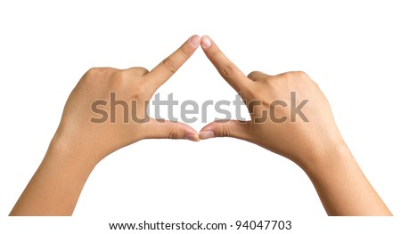 hands forming triangle - stock photo