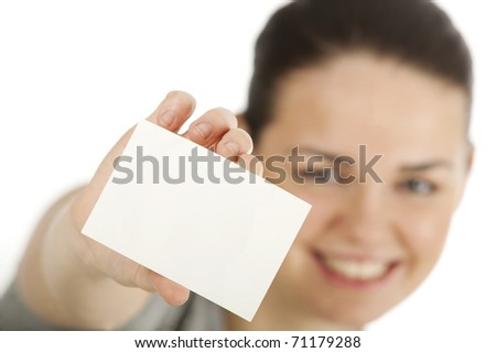 hands' gesture, business card - stock photo