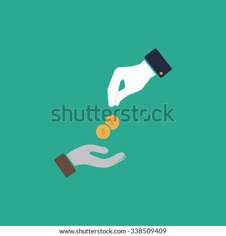 Hands Giving and Receiving Money. Colored simple icon. Flat retro color modern illustration symbol - stock photo