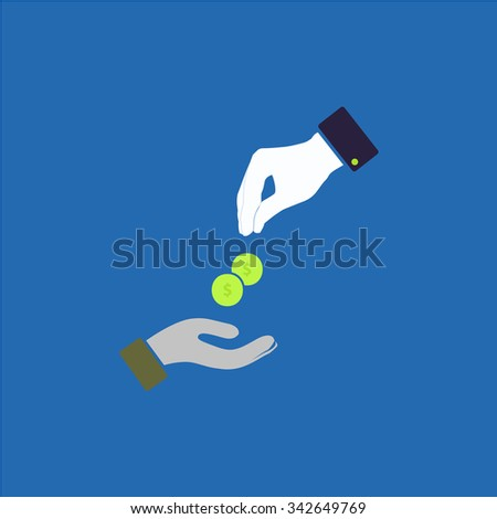 Hands Giving and Receiving Money. Colorful retro flat icon - stock photo