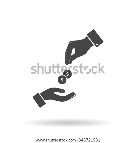 Hands Giving and Receiving Money. Flat icon on grey background with shadow - stock photo