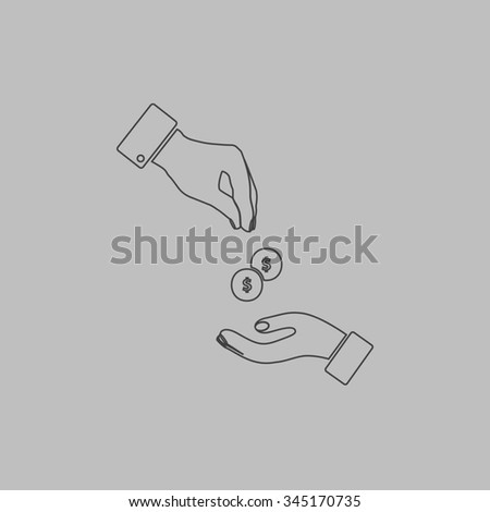 Hands Giving and Receiving Money. Flat outline icon on grey background - stock photo