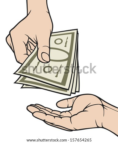 hands giving and receiving money (hand giving money to other hand, hand with money, hand holding banknotes, money in the hand) - stock photo