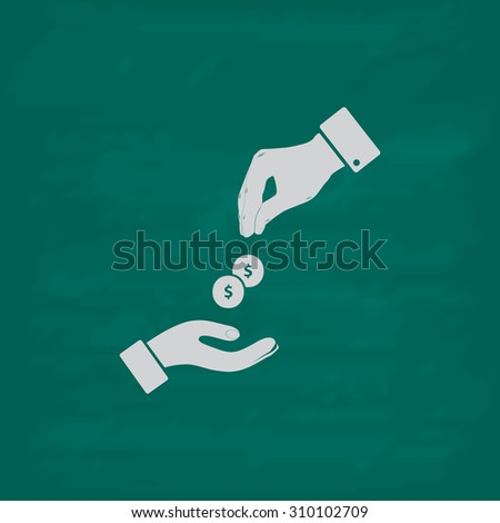 Hands Giving and Receiving Money.  Icon. Imitation draw with white chalk on green chalkboard. Flat Pictogram and School board background. Illustration symbol - stock photo