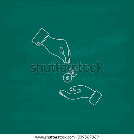 Hands Giving and Receiving Money. Outline icon. Imitation draw with white chalk on green chalkboard. Flat Pictogram and School board background. Illustration symbol - stock photo