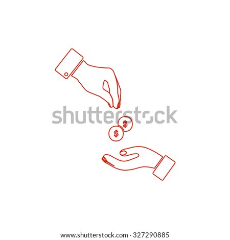 Hands Giving and Receiving Money. Red outline illustration pictogram on white background. Flat simple icon - stock photo