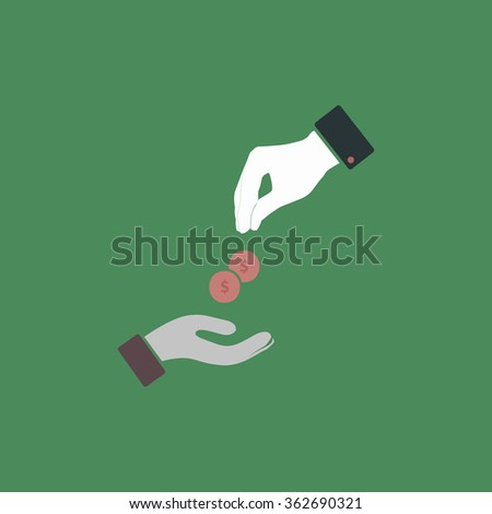 Hands Giving and Receiving Money. Simple flat color icon on colorful background - stock photo