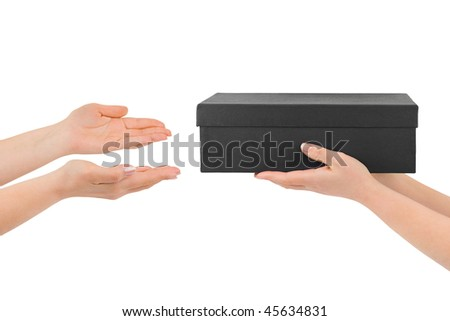 Hands giving box isolated on white background - stock photo
