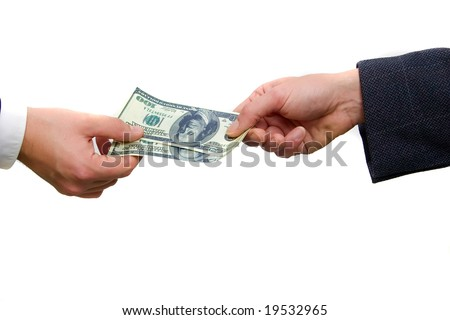 hands giving dollar