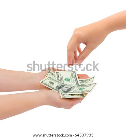 Hands giving money isolated on white background - stock photo