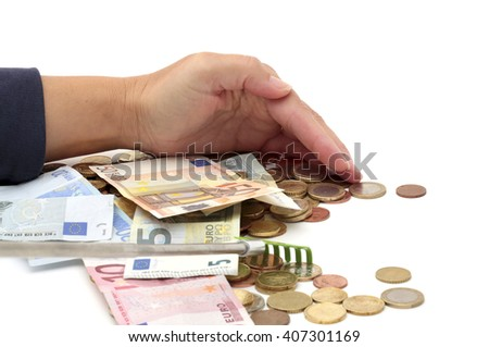 Hands grabbing money - stock photo