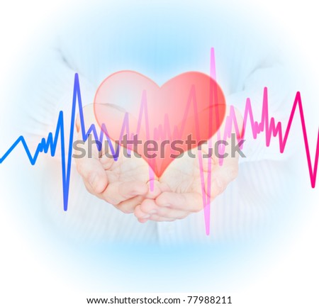 Hands, heart  and  pulse. Health insurance concept. - stock photo