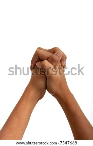 hands held together over a white background