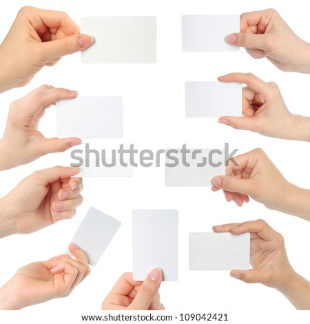 Hands hold business cards collage on white background