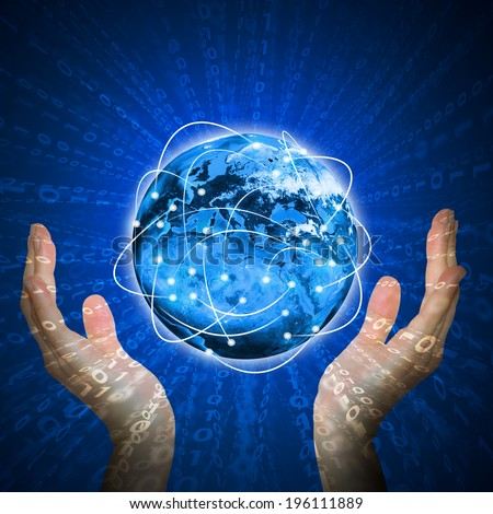 Hands hold glowing Earth and figures. Hi-tech technological background. Elements of this image are furnished by NASA