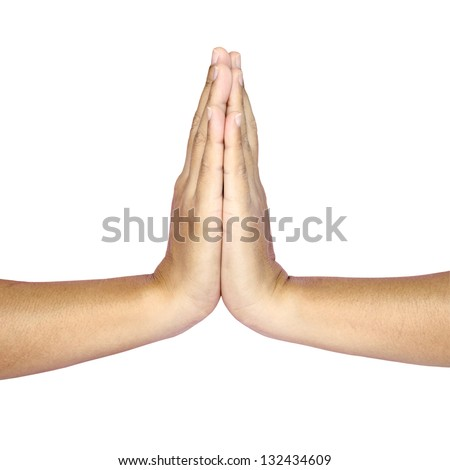 Hands hold hands together is symbol prayer and gratitude ,Hello and thank in Thai position - stock photo