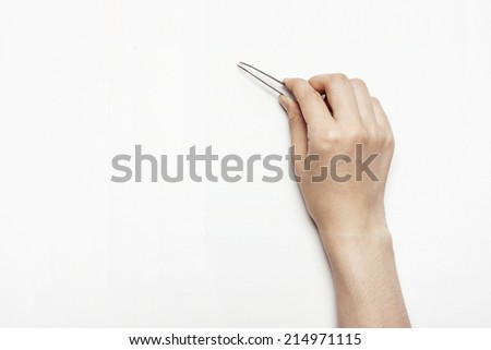 hands hold the pin set isolated white.