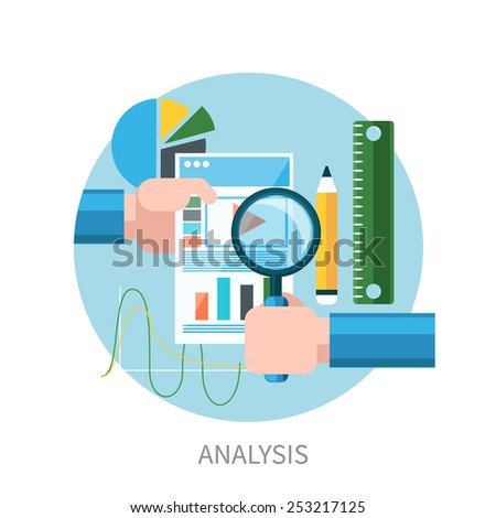 Hands hold web site tablet PC with graphs. Market analysis flat design. Raster version - stock photo