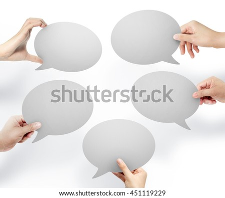 Hands hold white bubble quote chat, Notification speech bubble concept, chat concept - stock photo