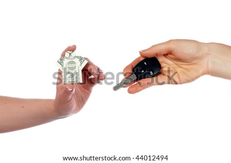 Hands holding a banknote in one dollar isolated on white