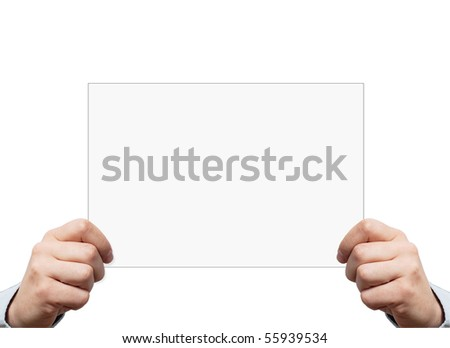 Hands holding a blank piece of paper with space for graphics or text, isolated on white - stock photo