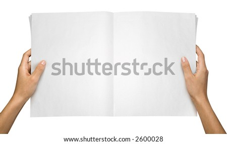 Hands holding a blank tabloid, suitable for pasting anything