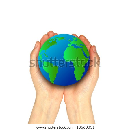 Hands holding a bright glowing Earth