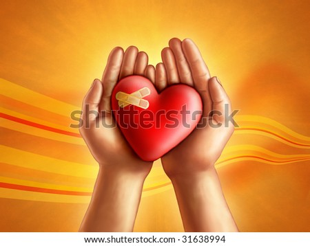 Hands holding a broken hearth, care and compassion concept. Digital illustration. - stock photo